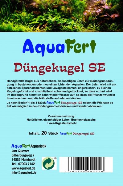 AquaFert Düngekugel SE - aus natürlichem Lehm mit Zusatz von Spurenelementen