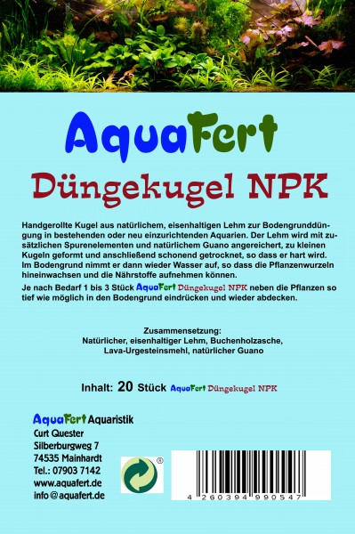AquaFert Düngekugel NPK - aus natürlichem Lehm mit Zusatz von Guano und Spurenelementen