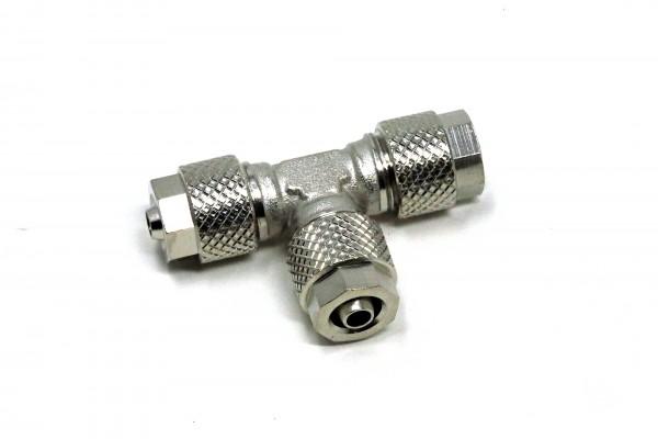 T-Verteiler mit Schlauchanschlüssen für 4/6 mm Schläuche