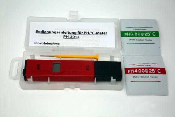 pH / °C.-Tester mit pH4+7 Eichpulver
